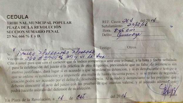Citación oficial para el juicio contra Danilo Maldonado, alias El Sexto