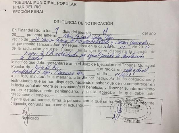 Citación oficial a Karina Gálvez. (CEC)