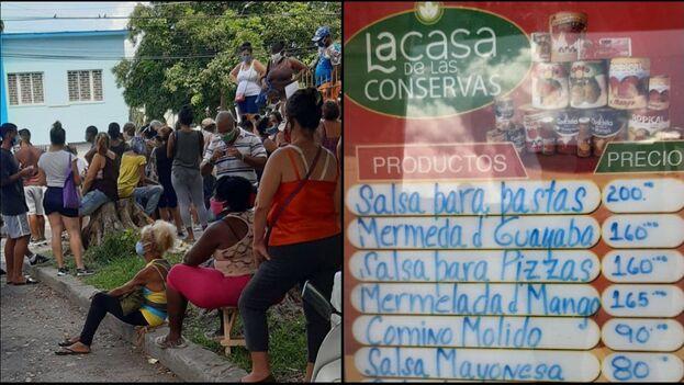 Cola del domingo 12 de septiembre para comprar en la recién inaugurada La Casa de las Conservas, en pesos cubanos. (14ymedio)