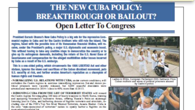 Copia del anuncio publicado en The Washington Post.
