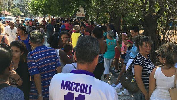 La cola de la heladería Coppelia este miércoles, mientras el Palacio de Convenciones acogía la sesión de apertura de la legislatura. (14ymedio/Luz Escobar)