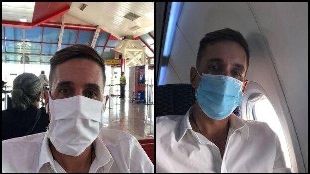 A la izquierda, Lidier Hernández a minutos de abordar el vuelo en La Habana y a la derecha, en el avión que tomó en la escala en Ciudad de Panamá, rumbo a Uruguay. (Collage)