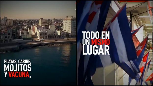 """""""Cuba es la única nación en vías de desarrollo con vacunas contra el covid en pruebas con humanos"""", se lee en la publicidad. (Collage)"""
