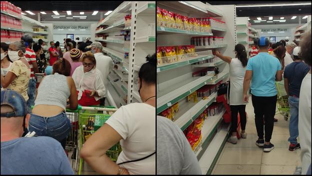"""""""Dentro parecía otro país, los estantes con una variedad de productos que yo no veía hace años en las tiendas en pesos"""", explicó un cliente que este domingo logró entrar a la tienda en MLC de la avenida Rancho Boyeros y Camagüey. (14ymedio)"""