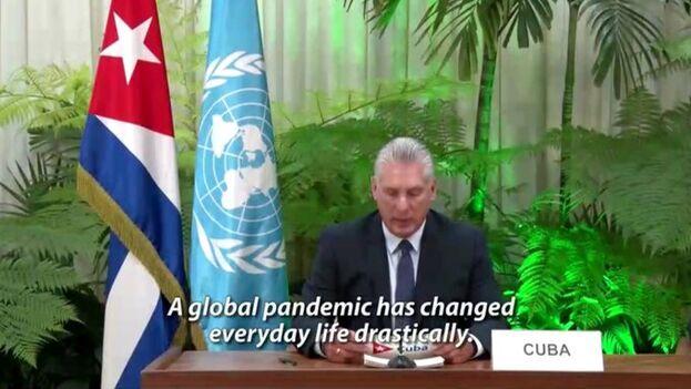 Díaz-Canel respondió en su intervención ratificando el apoyo de su país a los gobiernos de Nicolás Maduro y Daniel Ortega. (Captura)