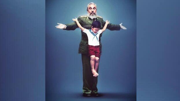 La obra 'Doctrina' de Erik Ravelo, en la que contrapone una imagen de un niño uniformado en una cruz formada por los brazos de Fidel Castro. (Erik Ravelo/Facebook)