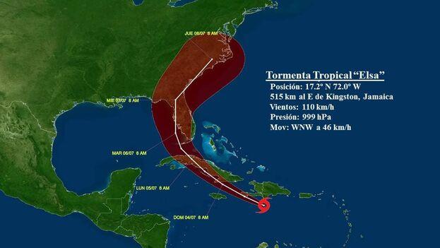 Durante la mañana de hoy el huracán Elsa ha continuado debilitándose ligeramente y ahora es nuevamente tormenta tropical. (NSMET)