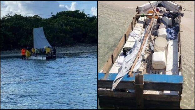 Embarcación en la que viajaban los 12 cubanos que llegaron a las Islas Caimán. (Collage)