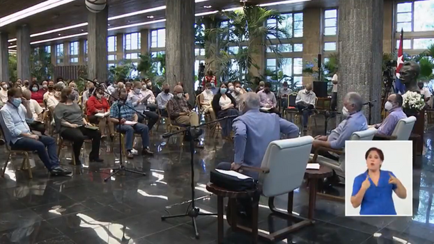 Encuentro del gobernante Miguel Díaz-Canel con periodistas el pasado 19 de agosto. (Captura)