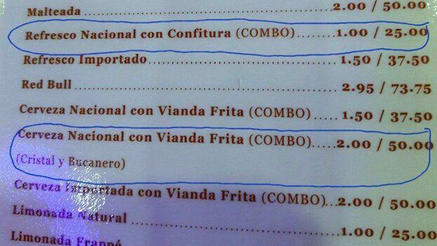 Foto de la carta de uno de estos locales privados en la que se se promocionan un combo de cerveza nacional con vianda frita. (Facebook)