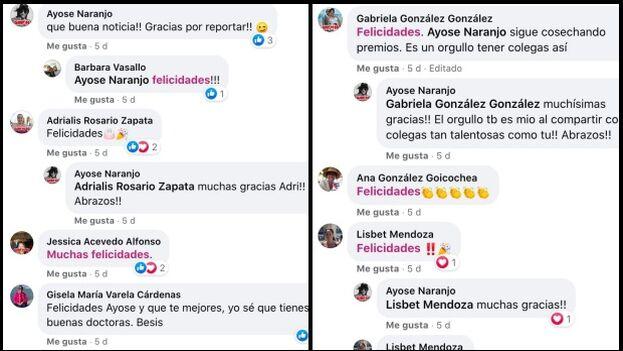 Fragmentos del muro de Ayose García Naranjo donde agradece las felicitaciones por su premio. (Facebook/collage)