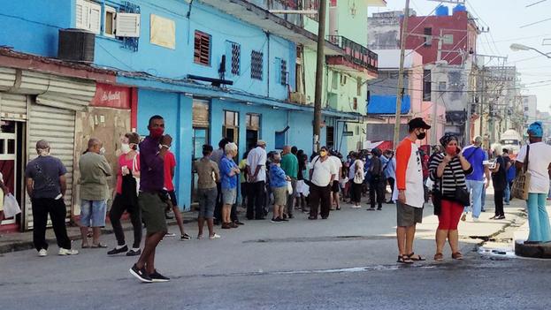 La Habana se mantiene desde el 11 de enero en la fase de transmisión autóctona limitada con la aplicación de medidas más restrictivas, aunque las largas colas para adquirir alimentos no encuentran fin. (14ymedio)