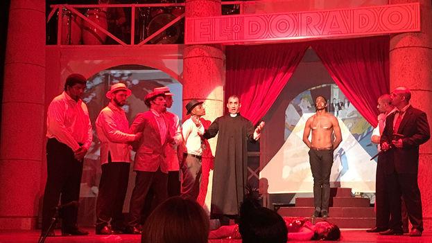 La ópera 'Hatuey', de la dramaturga estadounidense Elise Thoron, con música de Frank London, estrenada este fin de semana en el teatro Arenal. (14ymedio)