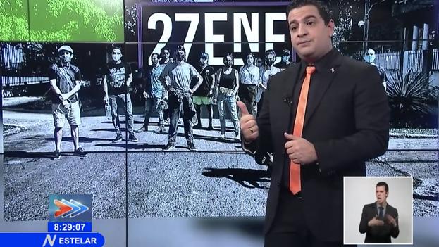 El presentador Humberto López, en un programa dedicado a desprestigiar a los artistas que fueron agredidos el 27 de enero por el ministro de Cultura, Alpidio Alonso. (Captura)