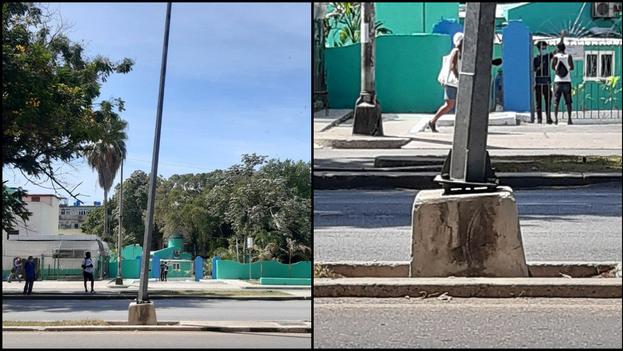 Poste ubicado en Carlos III, entre Ayestarán y Requena, en el municipio de Plaza de la Revolución. (Collage/14ymedio)