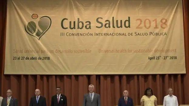 El presidente inauguró la III Convención Internacional Cuba Salud 2018 este lunes. (MinsapCuba)