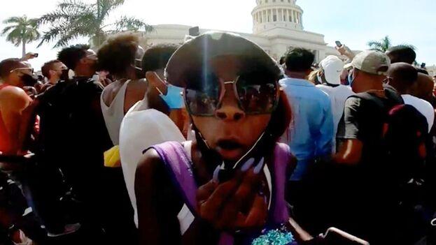 Imagen de las protestas del 11 de julio. (Captura)