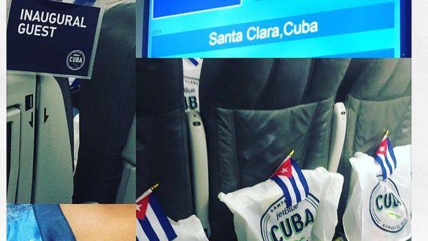 Interior del avión de JetBlue que inaugura los vuelos regulares a la Isla entre EE UU y Cuba por primera vez desde 1961. (Twitter/@Im_Adelkis)