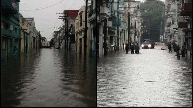Inundaciones ayer en la zona del Centro Deportivo El Pontón, donde vive Carlos. (14ymedio)