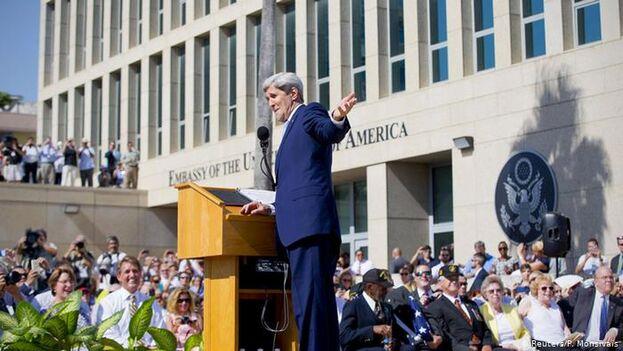 John Kerry en La Habana el 14 de agosto de 2015 en la ceremonia de reapertura de la Embajada de EE UU. (Pool)