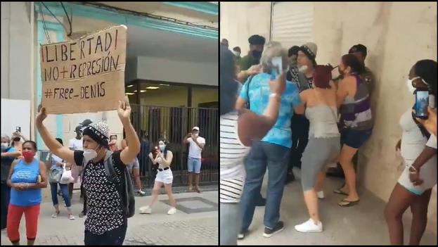 """""""Libertad. No más represión. #free-Denis"""", se puede leer en el cartel que portaba el joven. (Collage)"""