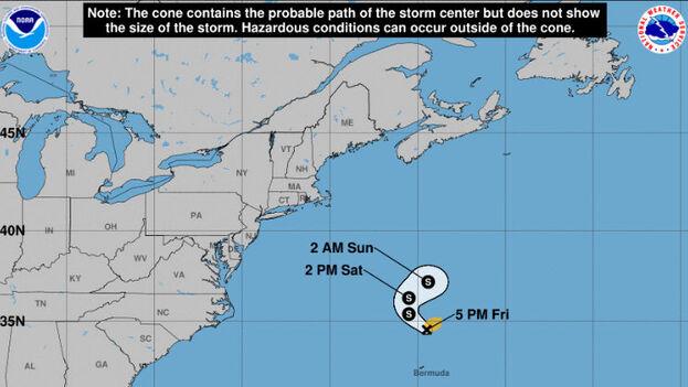 Localización de la tormenta subtropical Teresa del 24 de septiembre a las 5:00 pm cedida por la Oficina Nacional de Administración Oceánica y Atmosférica de Estados Unidos. (Centro Nacional de Huracanes)