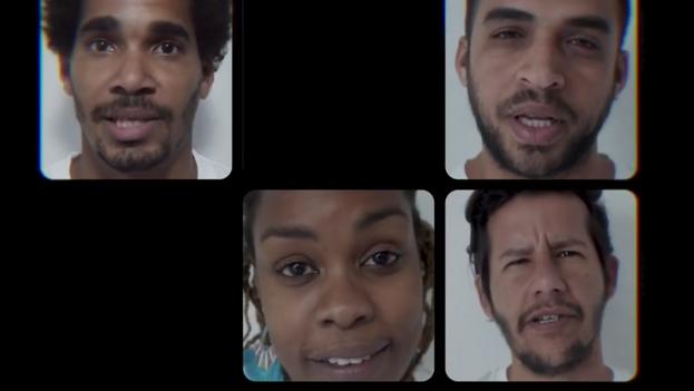 Luis Manuel Otero Alcántara, Héctor Luis Valdés Cocho, María Matienzo, Tata Poet y Juliana Rabelo, en el video de la campaña #Exprésate! (Captura)
