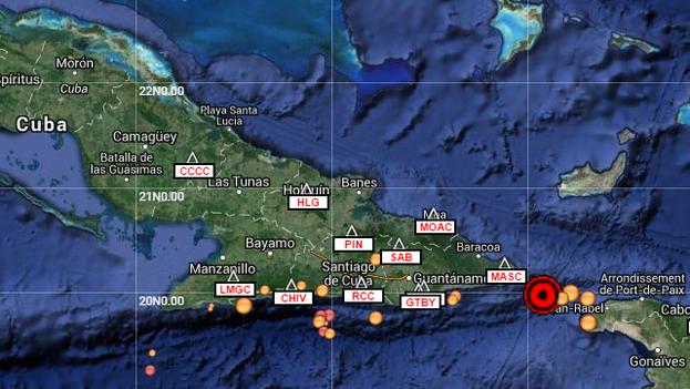 El temblor de tierra fue localizado a 44,2 kilómetros al sureste de la Punta de Maisí, en la provincia de Guantánamo. (Servicio Sismológico Nacional)