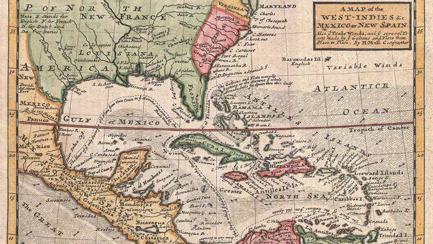 Mapa de 1732 del cartógrafo británico Herman Moll, que recoge el mar caribe y sus islas.