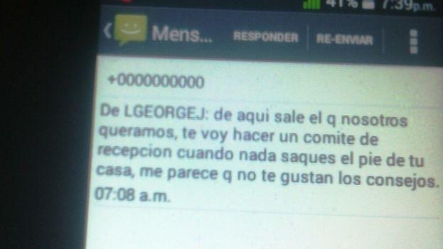 Mensaje recibido en el celular de Yoannis Beltrán Gamboa y atribuido a la Seguridad del Estado. (Foto del autor)