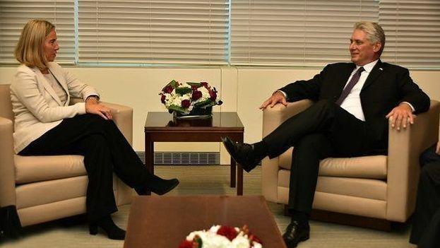 Miguel Díaz-Canel y Federica Mogherini trataron sobre la relación bilateral (@CubaMINREX/Twitter)