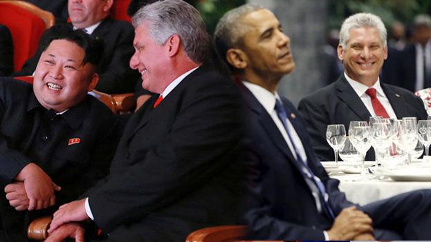 El actual presidente cubano, Miguel Díaz-Canel, durante su visita a Pyongyang y junto al expresidente Barack Obama. (14ymedio)