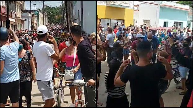 Cientos de cubanos en San Antonio de los Baños salen a protestar en contra del Gobierno. (Collage)