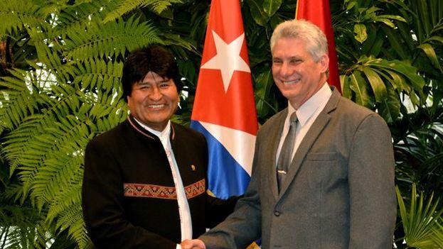 Evo Morales ha sido el segundo mandatario en visitar a Díaz-Canel, tras el viaje de Nicolás Maduro el pasado fin de semana a Cuba. (@evoespueblo)