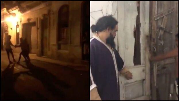En medio de la oscuridad un hombre rompió la puerta de la sede Movimiento San Isidro, una agresión que fue transmitida en vivo a través de las redes sociales. (Collage)