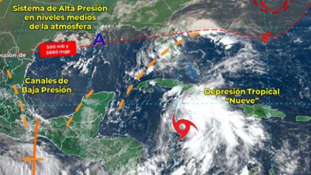 El NHC, con sede en Miami, detalló que prevé que la depresión se convierta en tormenta tropical la noche del jueves. (@conagua_clima)