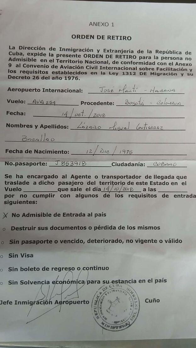 Orden de retiro de Lázaro Miguel Gutiérrez Bacallao