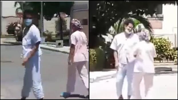 En el video se ve a Otero Alcántara conversar con una mujer que parece empleada del hospital mientras caminan por el patio de la instalación. (Collage)