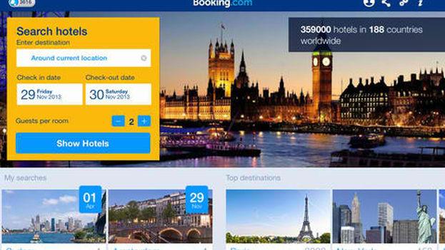 Página principal en inglés de Booking.com