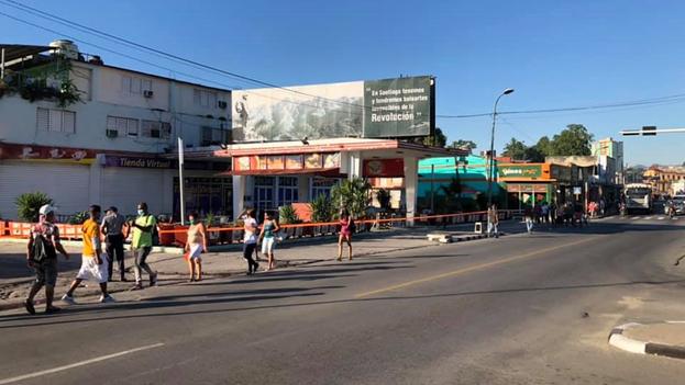 Parte de la avenida Victoriano Garzón en Santiago de Cuba se encuentra en cuarentena. (14ymedio)