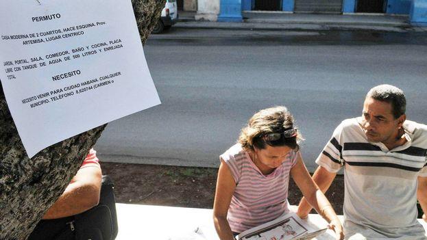 En el Paseo del Prado de La Habana, un sitio de clasificados al aire libre, por cada diez vendedores merodean dos compradores. (EFE)