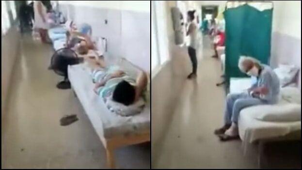 En los pasillos del hospital Julio M. Aristegui de Cárdenas, Matanzas, se acumulan las camas por el aumento de casos de covid. (Capturas/collage)