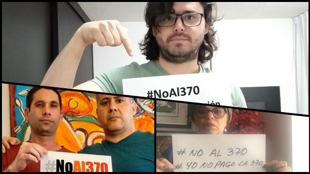 Periodistas, activistas y artistas protestan en las redes sociales contra el Decreto Ley 370. (Collage)