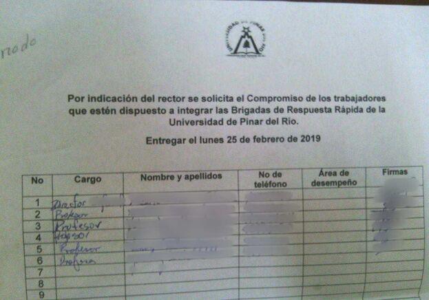 Planilla de registro para pertenecer a las Brigadas de Respuesta Rápida en la Universidad de Pinar del Río. (14ymedio)