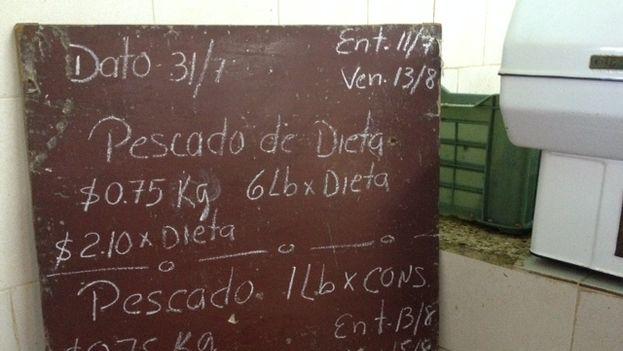 Precios del pescado en el mercado. (14ymedio/ Luz Escobar)
