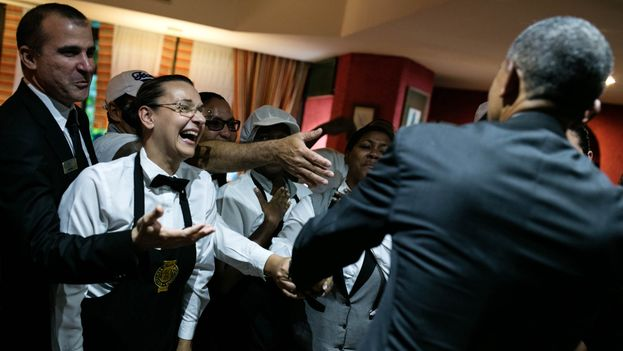 President Barack Obama greets hotel workers in Havana (Official White House Photo by Pete Souza)