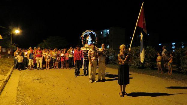 Procesión de la Virgen de la Caridad, 'Cachita', en Najasa, Camagüey. (14ymedio)