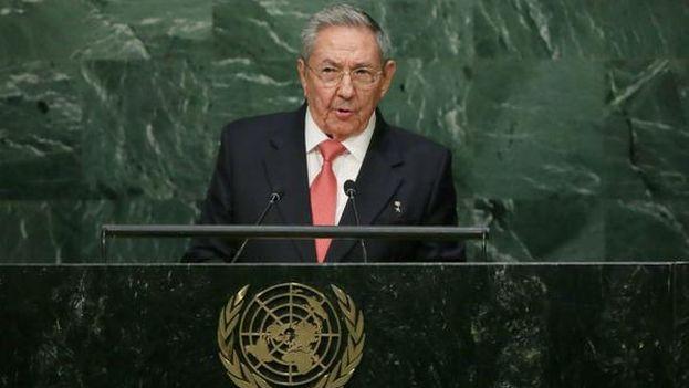 Raúl Castro ofrece su discurso en la ONU. (ONU)