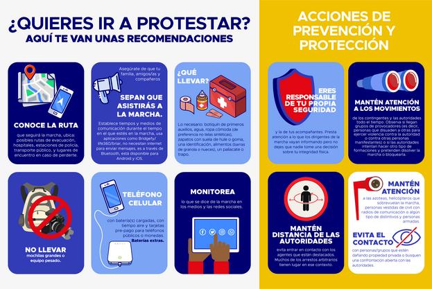 Recomendaciones por si decide ir a protestar. (Cortesía)