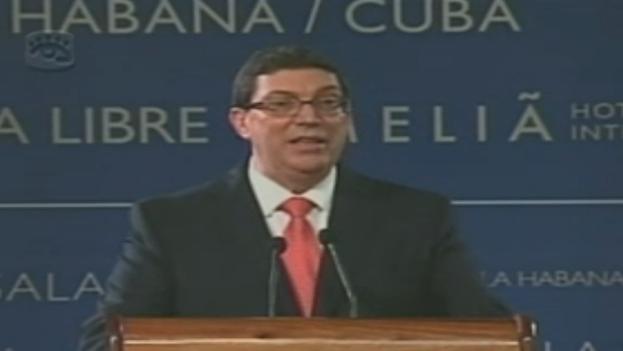 El ministro de Relaciones Exteriores de Cuba, Bruno Rodríguez, durante la intervención de este jueves. (Fotograma)